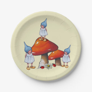 Gnomes: Triplet Girls, Cute Original Fantasy Art Paper Plate