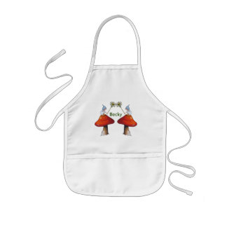Gnomes with Daisies, Toadstools, Personlize Kids' Apron
