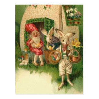 Gnomo coloreado pintado de la flor del huevo del c tarjetas postales