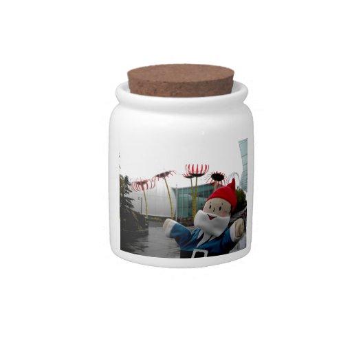 Gnomo de cristal de la flor jarras para caramelos