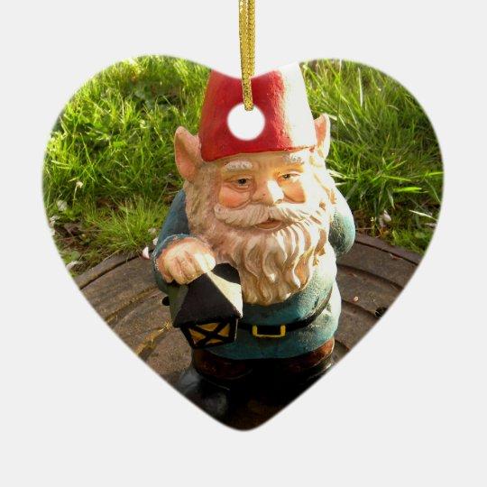 Gnomo de la boca adorno navideño de cerámica en forma de corazón
