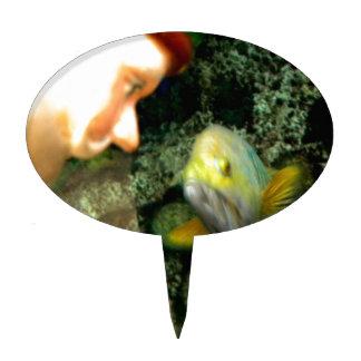 Gnomo de la cara de los pescados figura de tarta