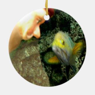 Gnomo de la cara de los pescados adorno redondo de cerámica