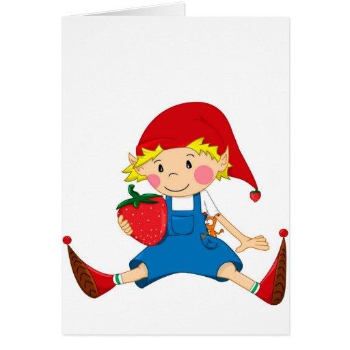 Gnomo de la fresa tarjeta de felicitación
