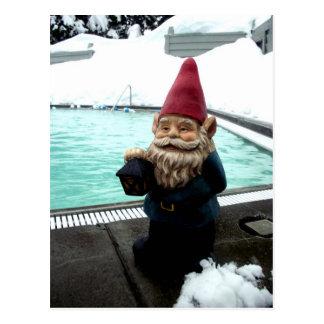Gnomo de la piscina de la nieve tarjetas postales
