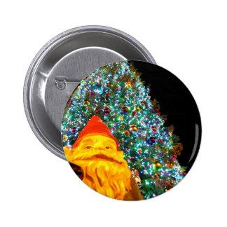 Gnomo de las Felices Navidad Pin Redondo De 2 Pulgadas