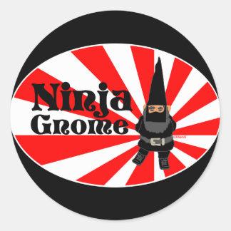Gnomo de Ninja Etiqueta Redonda