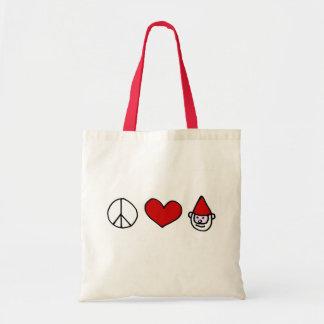 Gnomo del amor de la paz bolsa tela barata