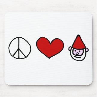 Gnomo del amor de la paz alfombrilla de ratones
