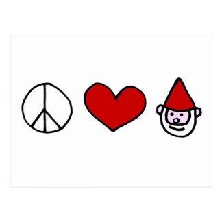 Gnomo del amor de la paz postal