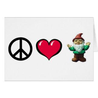 Gnomo del corazón de la paz por la tarjeta de feli
