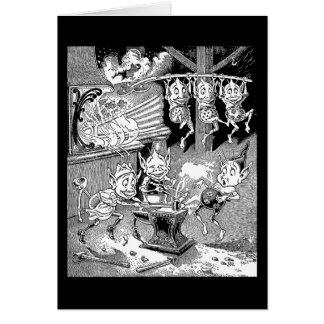Gnomo del herrero en la fragua tarjeta de felicitación