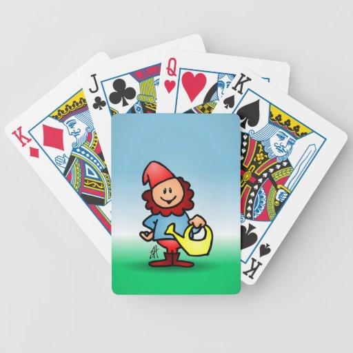 Gnomo del jardín barajas de cartas