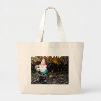 Gnomo del jardín bolsa de tela grande