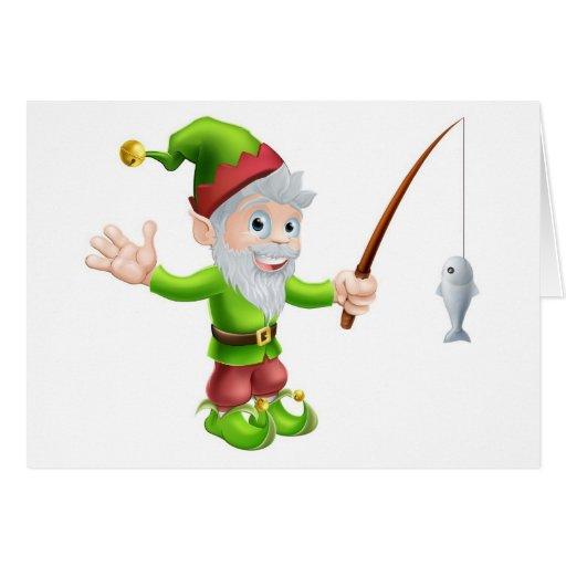 Gnomo del jardín con la caña de pescar felicitacion