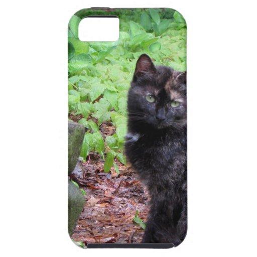 Gnomo del jardín y gatito negro y anaranjado iPhone 5 Case-Mate fundas