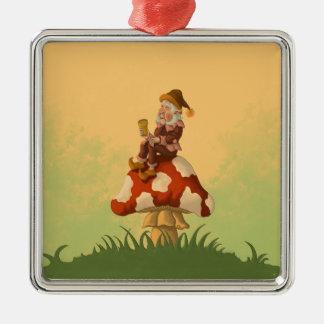 gnomo del toadstool adorno navideño cuadrado de metal