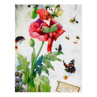 Gnomo en una flor de la amapola postal
