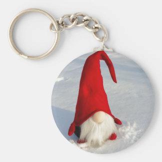 Gnomo escandinavo del navidad llavero redondo tipo pin
