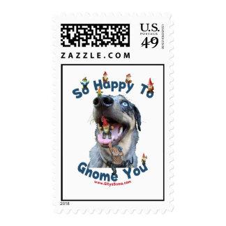 Gnomo feliz del perro usted sellos