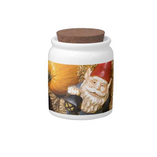 Gnomo II de la calabaza Tarro De Cerámica Para Dulces