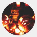 Gnomo III del remiendo de la calabaza Pegatinas Redondas