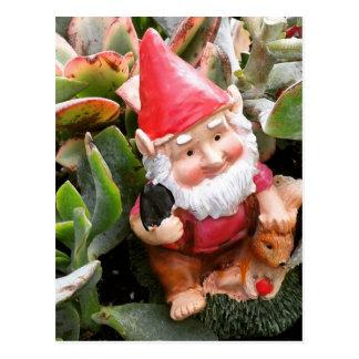 Gnomo que oculta en los succulents postal