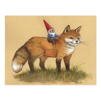 Gnomo y Fox jovenes Tarjeta Postal