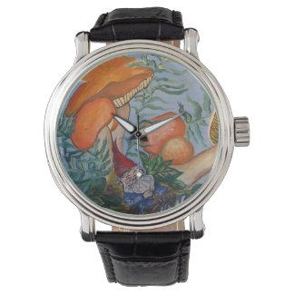 Gnomo y setas relojes de mano