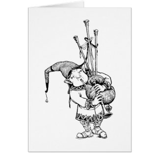 Gnomo y sus gaitas tarjeta de felicitación