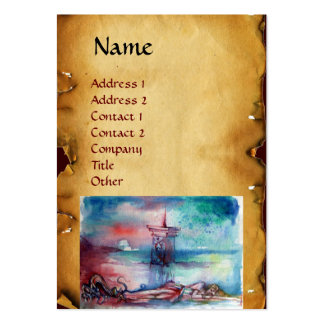GNOMON  AND LADY OF THE LAKE Brown parchment Large Business Card
