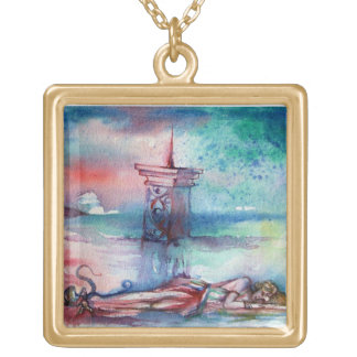 GNOMON AND LADY OF THE LAKE GOLD PLATED NECKLACE