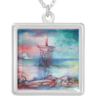 GNOMON AND LADY OF THE LAKE SQUARE PENDANT NECKLACE