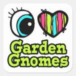Gnomos brillantes del jardín del amor del corazón calcomanías cuadradases