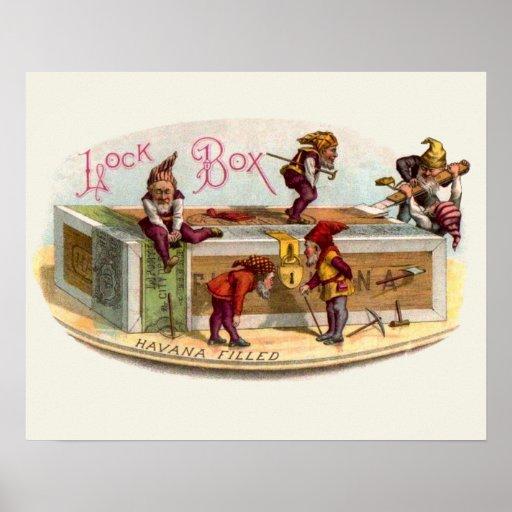 Gnomos de la caja de cigarros del vintage póster