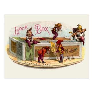 Gnomos de la caja de cigarros del vintage tarjeta postal