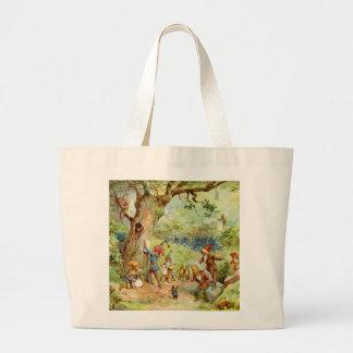 Gnomos, duendes y hadas en el bosque mágico bolsa tela grande
