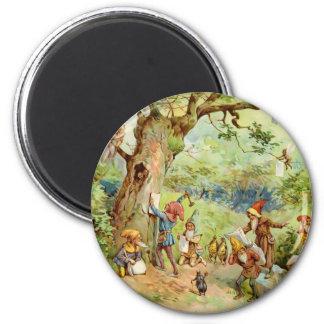 Gnomos, duendes y hadas en el bosque mágico imán redondo 5 cm