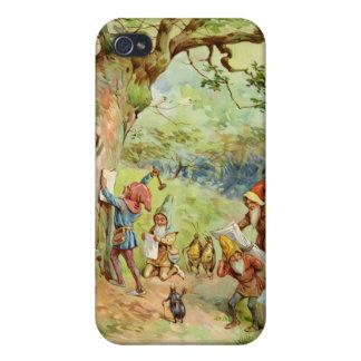 Gnomos, duendes y hadas en el bosque mágico iPhone 4 funda