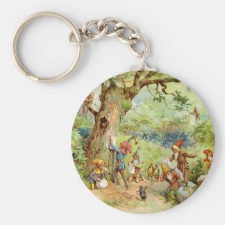 Gnomos, duendes y hadas en el bosque mágico llavero redondo tipo pin
