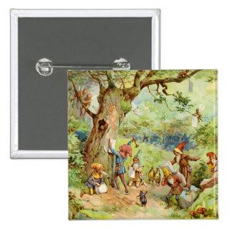 Gnomos, duendes y hadas en el bosque mágico pin cuadrado