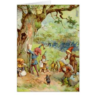 Gnomos, duendes y hadas en el bosque mágico tarjeta de felicitación
