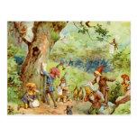 Gnomos, duendes y hadas en el bosque mágico tarjeta postal