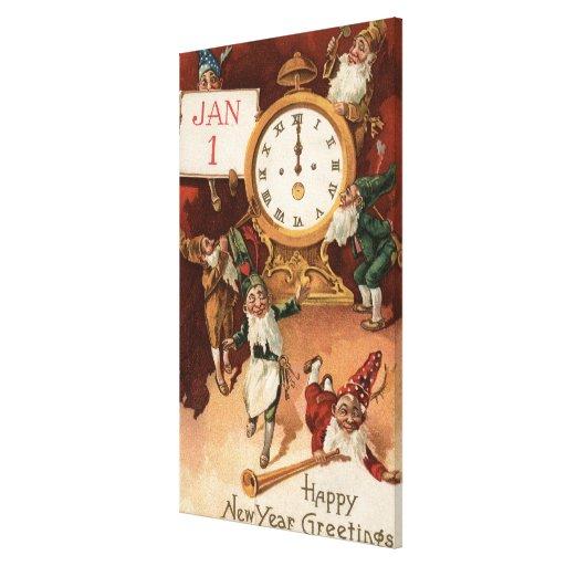 Gnomos que van de fiesta alrededor de un reloj impresión en lienzo