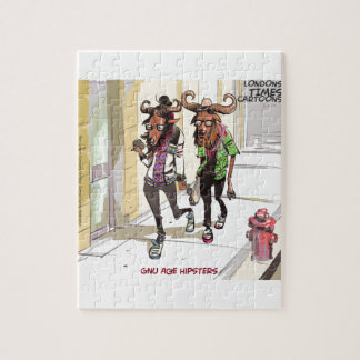 Gnu Age Hipsters Funny Jigsaw Puzzle