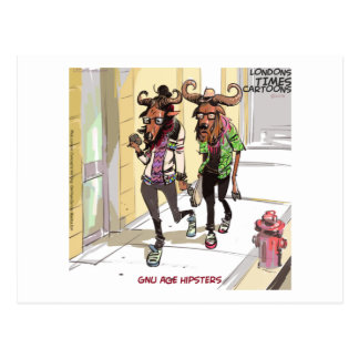 Gnu Age Hipsters Funny Postcard