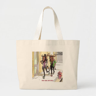 Gnu Age Hipsters Rick London Funny Large Tote Bag