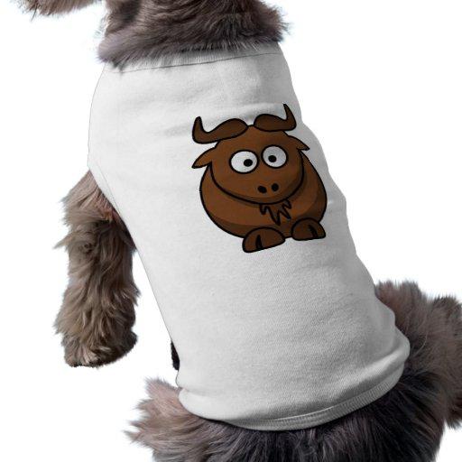 Gnu del dibujo animado playera sin mangas para perro