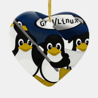 ¡GNU/Linux! Adorno Navideño De Cerámica En Forma De Corazón