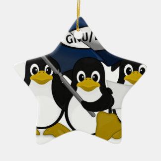 ¡GNU/Linux! Adorno Navideño De Cerámica En Forma De Estrella